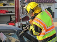 Fireman using Jaws of Life