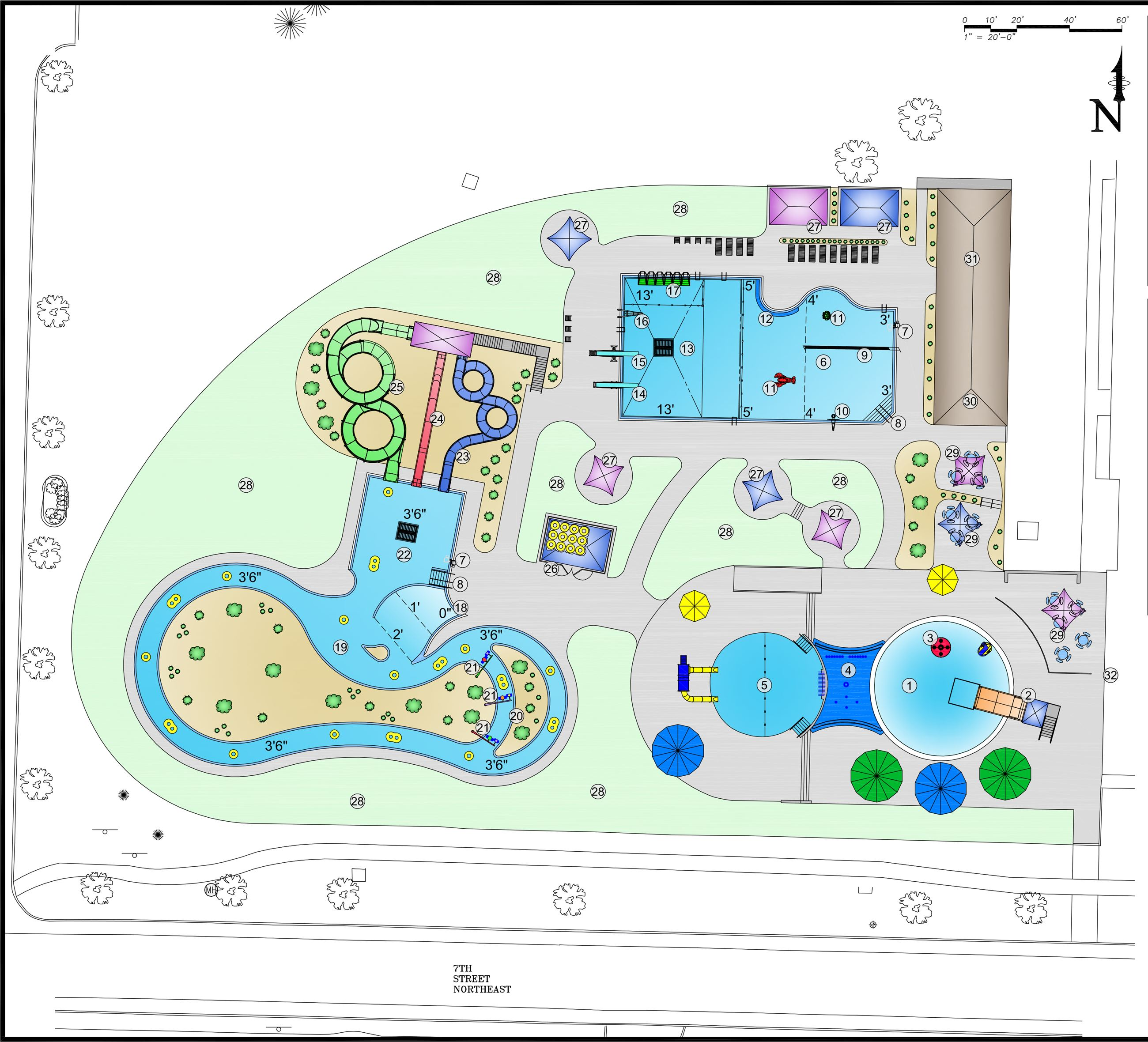 Outdoor aquatic center concept