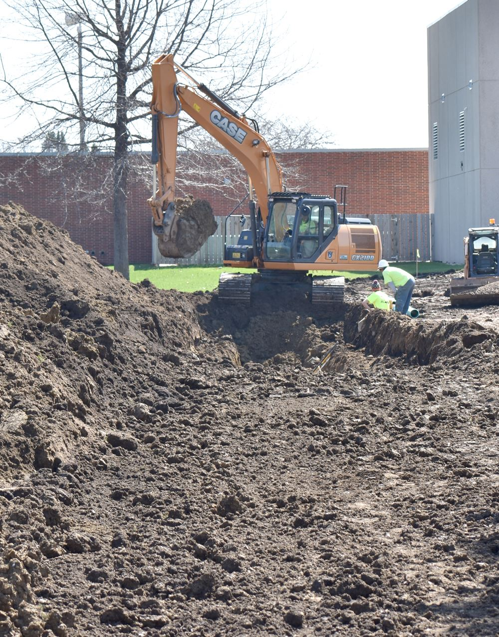 Digging at outdoor aquatic center site