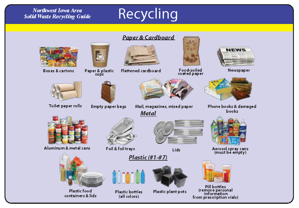 Accepted Recycling Materials: boxes, paper and plastic cups, cardboard, newspaper, toilet paper roll