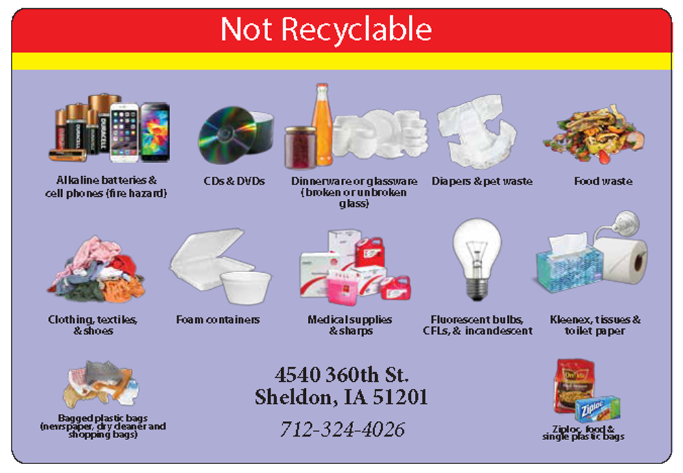 Not Recyclable Materials: alkaline batteries, cell phones, CDs, glass dinnerware, diapers, food wast