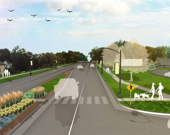 Highway improvements street view concept drawing