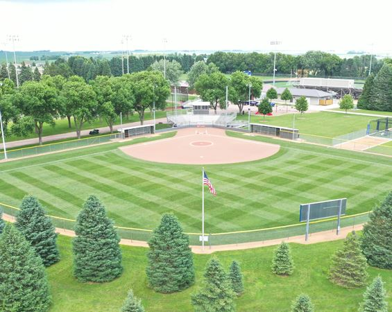 aerial view of softball diamond