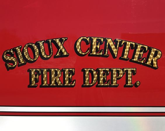 Close up of fire truck door