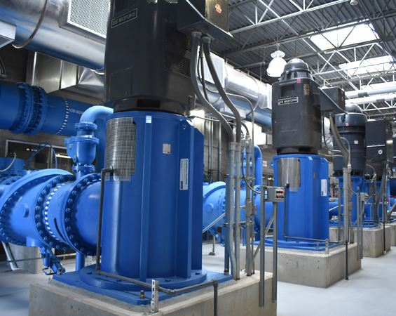 water pumps at large treatment plant