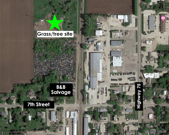 Overview image of yard waste disposal site location