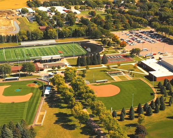 Aerial photo of park and athletic fields