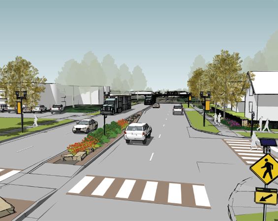 Concept drawing of road with crosswalk