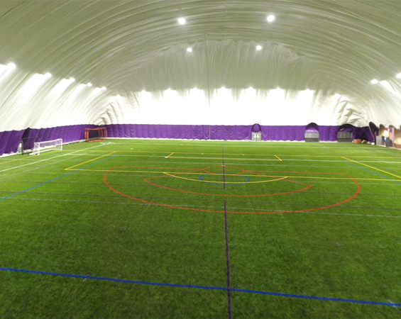Inside an indoor turf dome